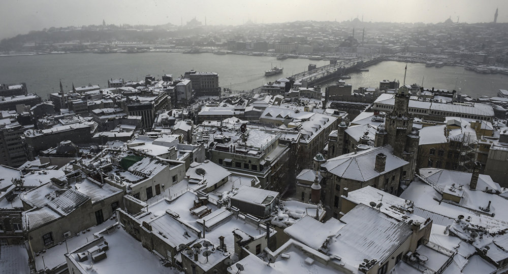 An aerial view of the historic city centre of Istanbul covered by snow, during heavy snowfalls in Istanbul
