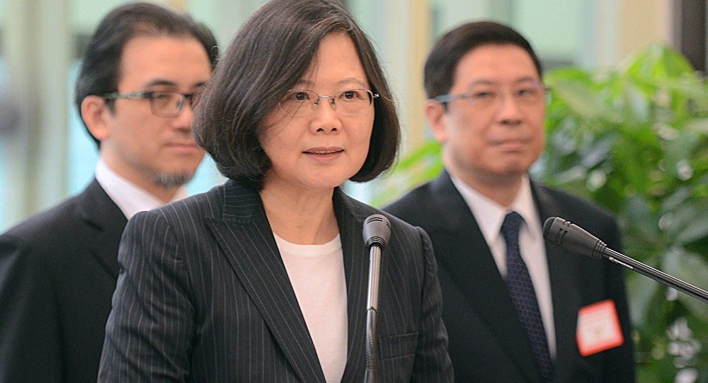 Taiwan's President Tsai Ing-wen delivers a speech before traveling to visit Central American allies including a U.S. transit, Saturday, Jan. 7, 2017, at the Taoyuan International Airport in Taouyuan, Taiwan. Tsai pledged to bolster Taiwan's presence on the international stage on her visit four Central American allies on a trip that includes U.S. transits and looks set to raise China's ire.