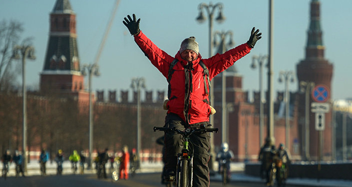 Second Winter Bicycle Parade in Moscow