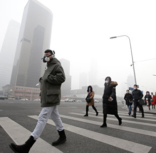 A man wearing a respiratory protection mask walks toward an office building during the smog after a red alert was issued for heavy air pollution in Beijing's central business district, China, December 21, 2016
