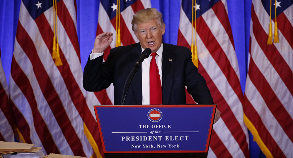 U.S. President-elect Donald Trump speaks during a news conference in the lobby of Trump Tower in Manhattan, New York City, U.S., January 11, 2017