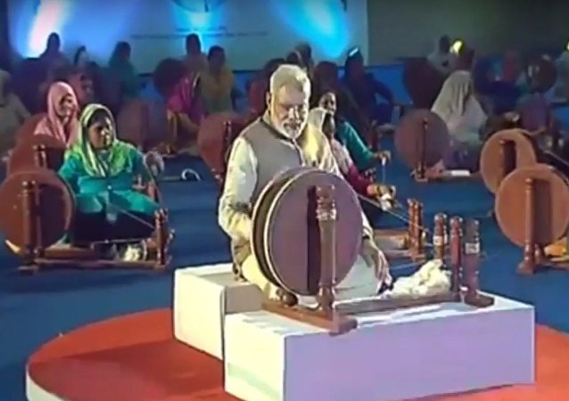 Modi with Spinning Wheel