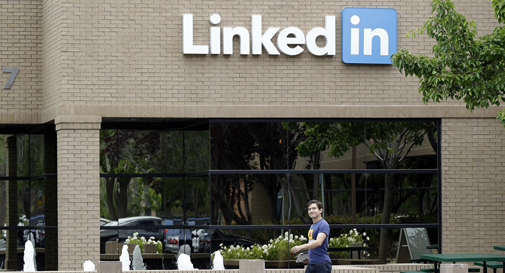 Man walks past the LinkedIn headquarters in Mountain View, Calif. (File)