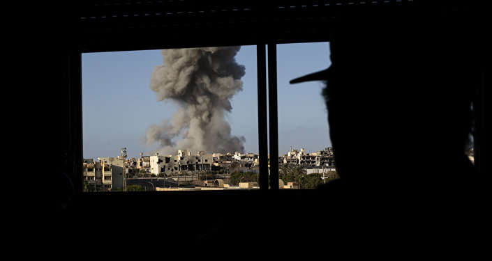 Smoke rise after an airstrike on the District 3 of Sirte, the last stronghold of Daesh (File)