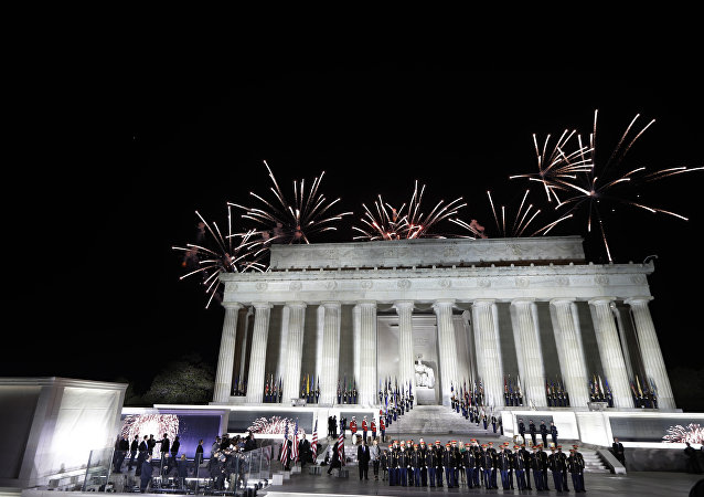 Fireworks at a pre-Inaugural Make America Great Again! Welcome Celebration at the Lincoln Memorial