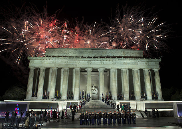 Fireworks explode during the Make America Great Again! Welcome Celebration honoring U.S. President-elect Donald Trump, at the Lincoln Memorial in Washington, U.S., January 19, 2017