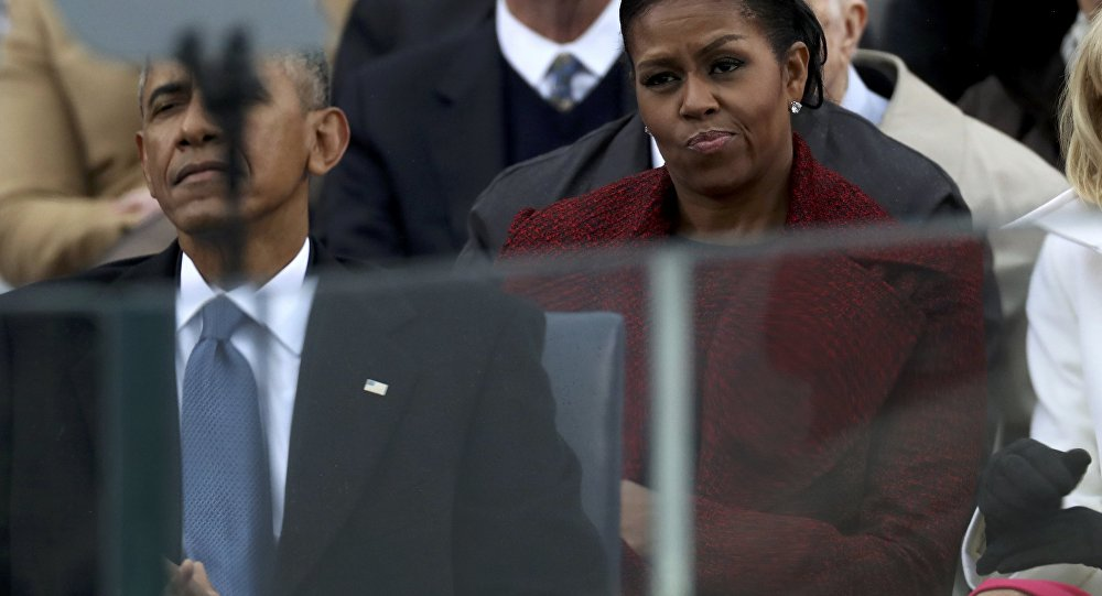 Outgoing US first lady Michelle Obama looking disinterested during the 2017 inauguration ceremonies.