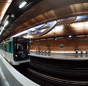 A picture taken on November 28, 2012 of a train arriving at the Arts et Métiers metro station in Paris