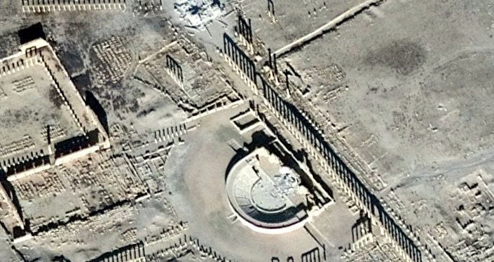 A satellite picture shows the damage in the Tetrapylon and the Roman Amphitheater in the historical city of Palmyra, in Homs Governorate, in this handout picture acquired on January 10, 2017