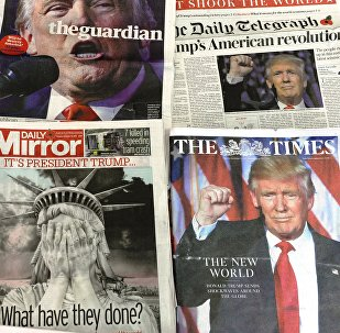 A selection of the front pages of the British national newspapers showing the reaction following Donald Trump's shock US presidential victory in London on November 10, 2016.