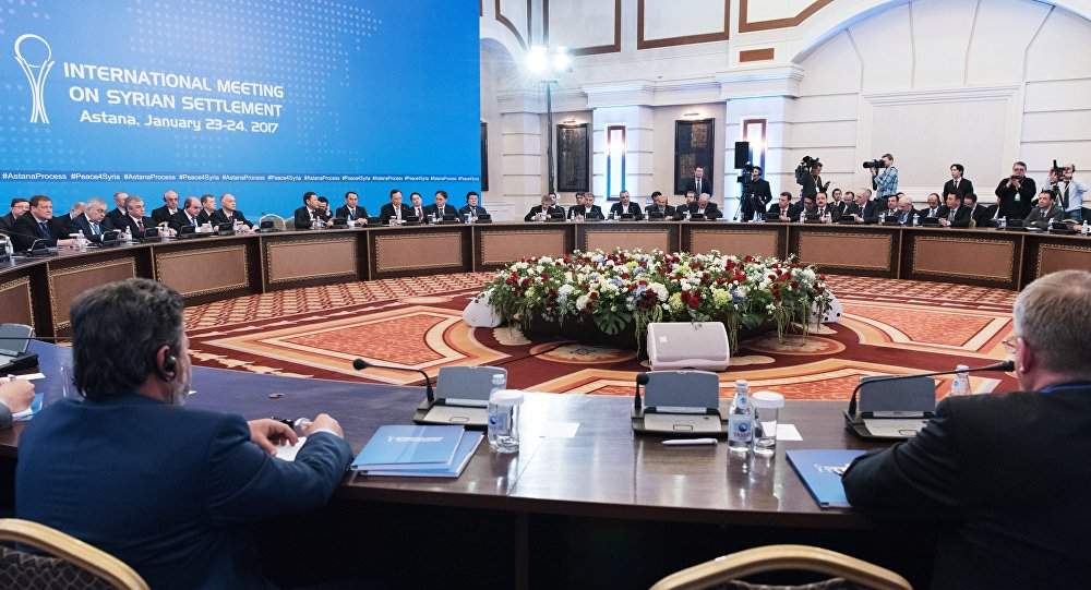 Participants in a meeting on Syria in Astana
