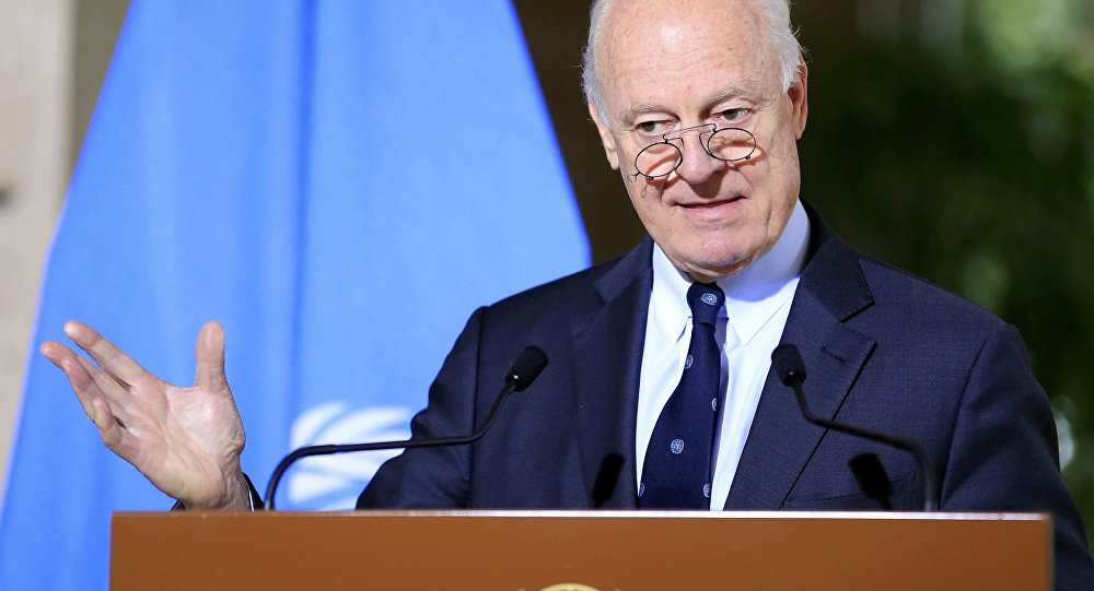 U.N. mediator for Syria Staffan de Mistura attends a news conference after a meeting at the United Nations in Geneva, Switzerland, January 12, 2017