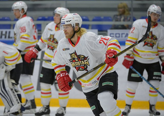 Kunlun's Miika Lahti before a regular championship match of the Kontinental Hockey League between Torpedo (Nizhny Novgorod, Russia) and Kunlun Red Star (Beijing, China). File photo
