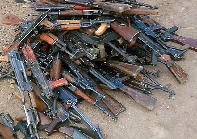 Weapon and ammunition Syrian insurgents surrendered to the government troops. File photo