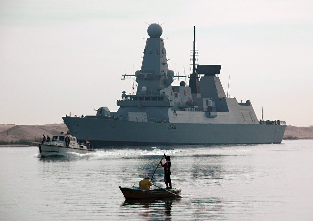The British destroyer HMS Diamond, seen here sailing through the Suez Canal, December 2, 2012