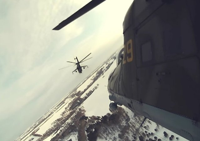 Russia's Mi-24 Helicopters Take Part In Drills