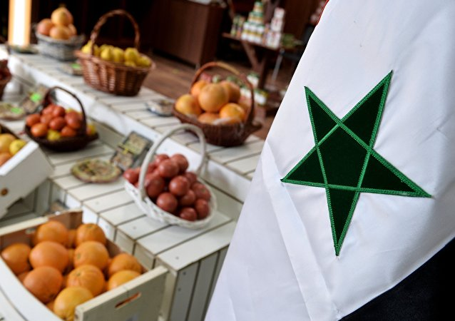 Fruits and vegetables sold at the Trade House of Syria located in the Food City agricultural cluster in Moscow.