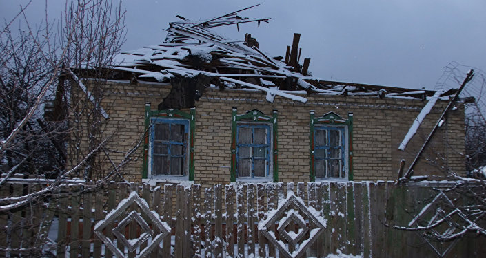 A house damaged by Gorlovka shellings outside Donetsk