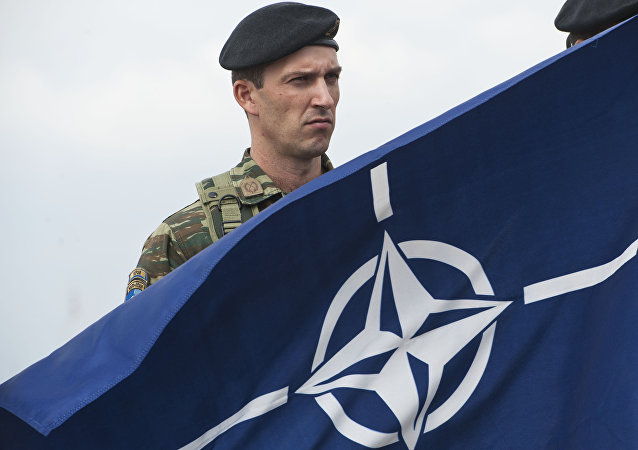 A members of NATO-led peacekeepers in Kosovo (KFOR) holds the NATO flag during the change of command ceremony in Pristina on September 3, 2014.