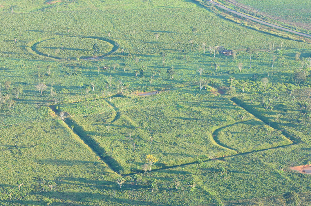 Geometric glyphs discovered in the Amazon. It is unlikely that this particular glyph is an ancient baseball diamond.