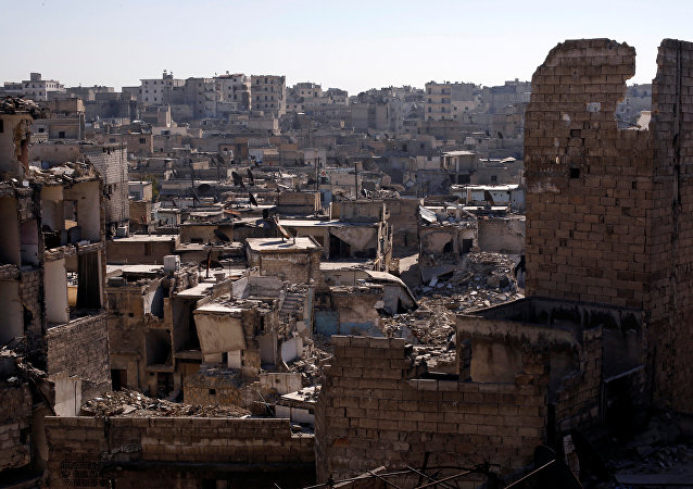 A general view shows damaged buildings at al-Kalasa district of Aleppo, Syria in Aleppo, Syria