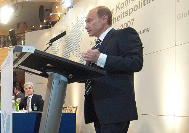 Russian President Vladimir Putin at the 43rd Munich Conference on Security Policy held at the Bayerischer Hof Hotel. File photo