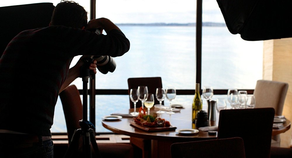 Taking a photo of a dinner