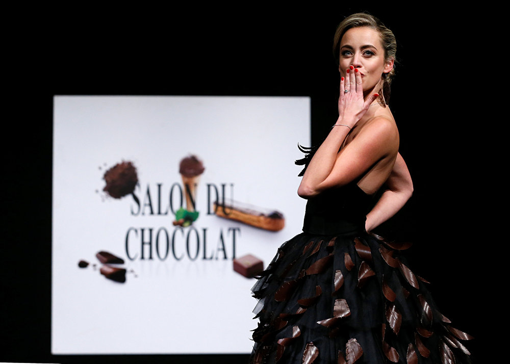 Sweet Couture: Models Parade in Chocolate Oufits at a Brussels Fair