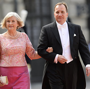 Swedish Prime Minister Stefan Loefven and his wife Ulla