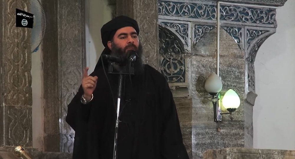 This 5 July, 2014 photo shows an image grab showing Daesh leader Abu Bakr al-Baghdadi