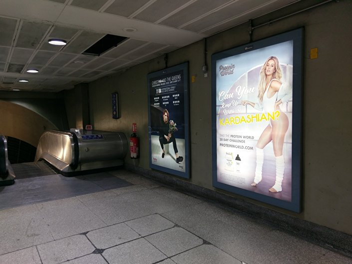 'Can You Keep Up With A Kardashian?' poster on the London underground // Sputnik
