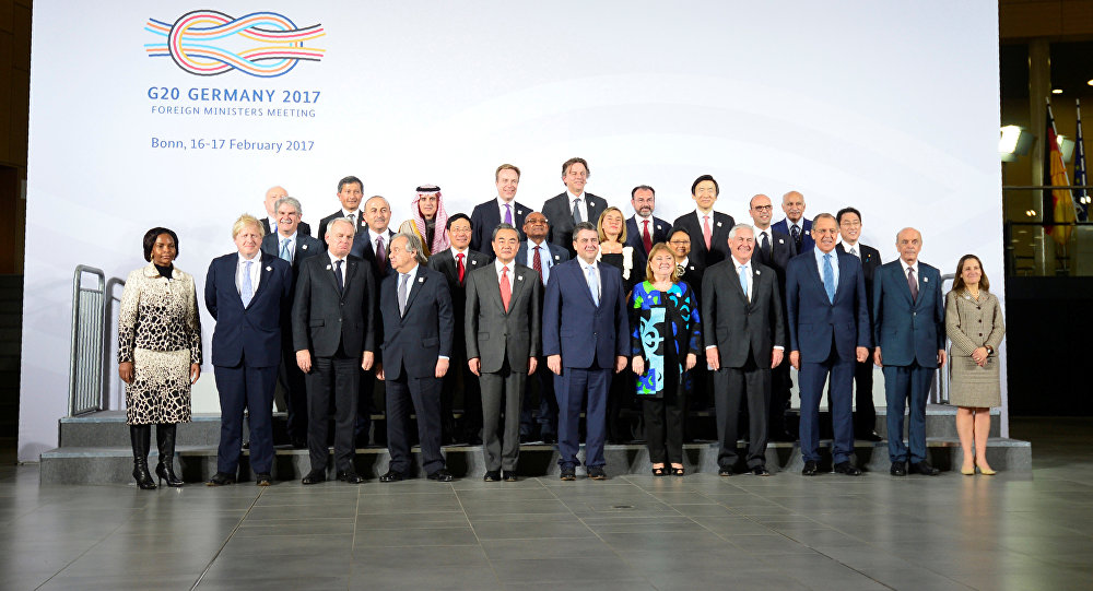 Participants of the G-20 foreign ministers' meeting pose for a group photo at the World Conference Center on February 16, 2017 in Bonn, Germany.