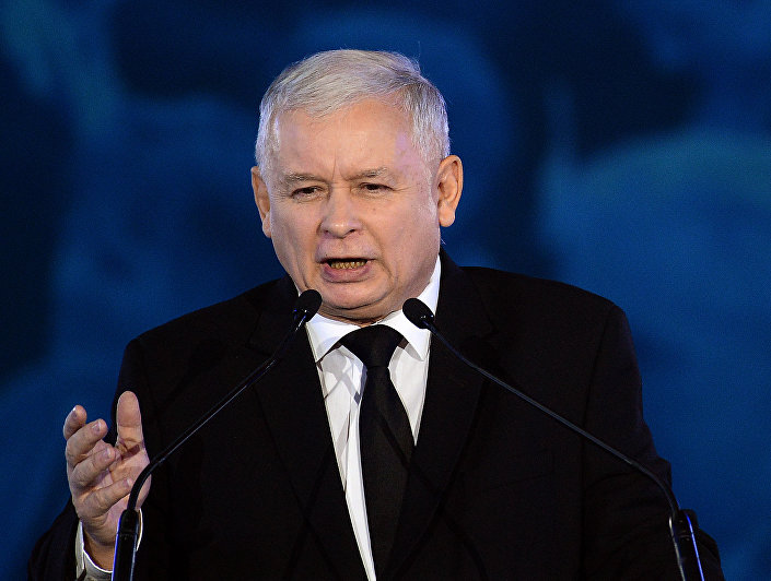 Jaroslaw Kaczynski leader of the opposition Law and Justice party in this weekend's general elections speaks at a party convention in Warsaw