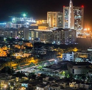 Night view of Clifton, an area of Pakistani city of Karachi.