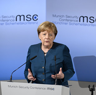 German Chancellor Angela Merkel delivers a speech on the 2nd day of the 53rd Munich Security Conference (MCS) in Munich, southern Germany, on February 18, 2017