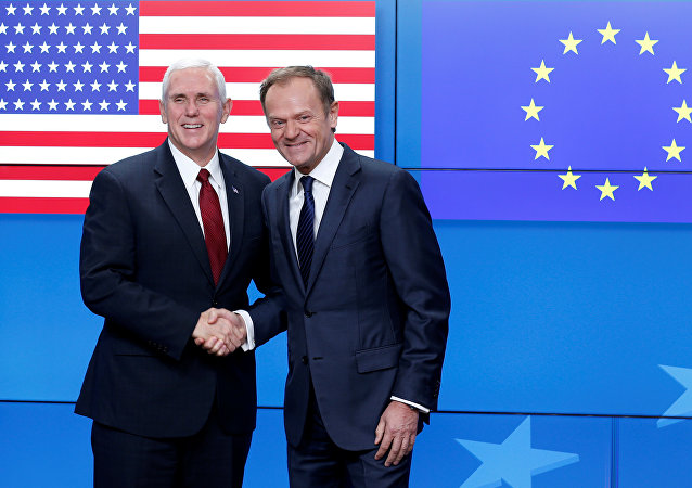 U.S. Vice President Mike Pence poses with European Council President Donald Tusk in Brussels, Belgium, February 20, 2017