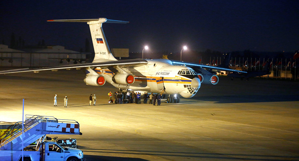 A fire fighting plane, Ilyushin IL-76 from Russia, is seen at Santiago's airport after arriving to help to extinguish wildfires in Chile's central-south regions, Chile January 30, 2017