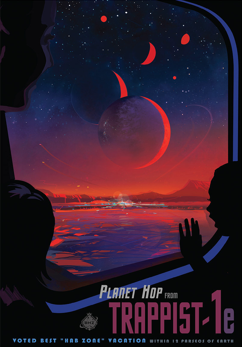 This poster imagines what a trip to TRAPPIST-1e might be like.
