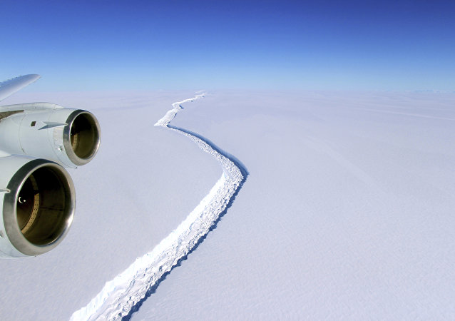 This Nov. 10, 2016 aerial photo released by NASA, shows a rift in the Antarctic Peninsula's Larsen C ice shelf.