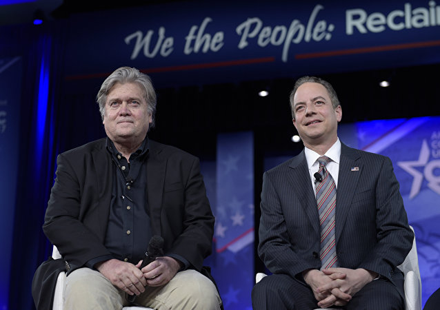 White House Chief of Staff Reince Priebus, right, and White House strategist Stephen Bannon, speak at the Conservative Political Action Conference