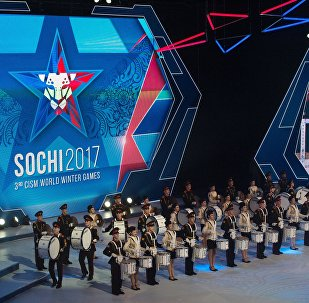 The Alexandrov Academic Ensemble of Song and Dance of the Russian Army performs at the opening ceremony of the 3rd CISM World Military Winter Games