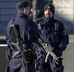 Armed police officers at the Gustaf Adolfs square in central Stockholm, Sweden. (File)