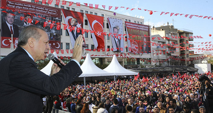 Turkey's President Recep Tayyip Erdogan addresses his supporters in Manisa, Turkey, Friday, Feb. 24, 2017.