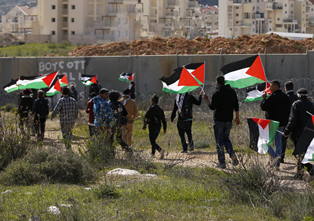 Palestinians and foreigners march towards Israel's controversial separation wall between the West Bank village of Bilin near Ramallah and the Israeli settlement of Modiin Ilit during a demonstration against settlements in the area, on February 17, 2017
