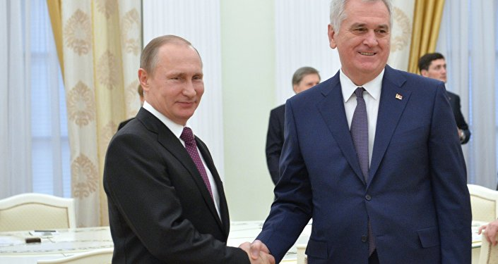 Russian President Vladimir Putin meets with his Serbian Counterpart Tomislav Nikolic