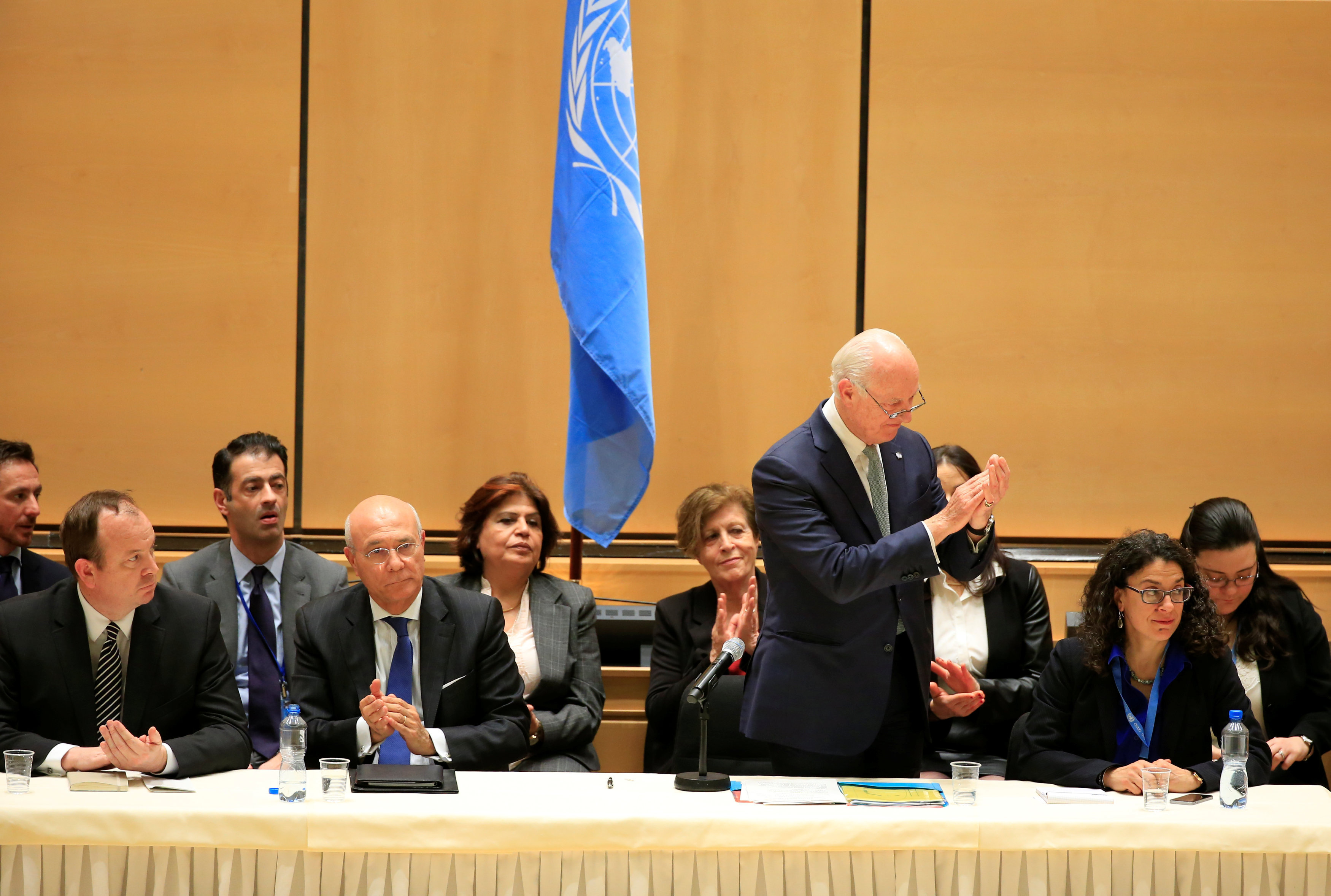 United Nations Special Envoy for Syria Staffan de Mistura addresses the Syrian invitees in the presence of members of the UN Security Council and the International Syria Support Group in the context of the resumption of intra-Syrian talks at the Palais des Nations in Geneva, Switzerland, February 23, 2017