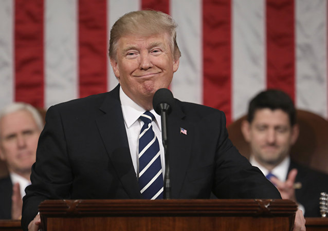 President Donald Trump addresses a joint session of Congress on Capitol Hill in Washington.