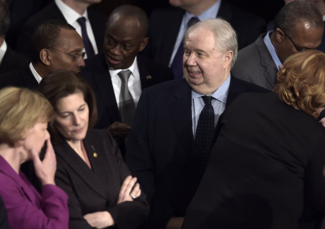 This file photo taken on February 28, 2017 shows Russian Ambassador to the US Sergey Kislyak (C)as he arrives before US President Donald Trump addresses a joint session of the US Congress in Washington, DC.