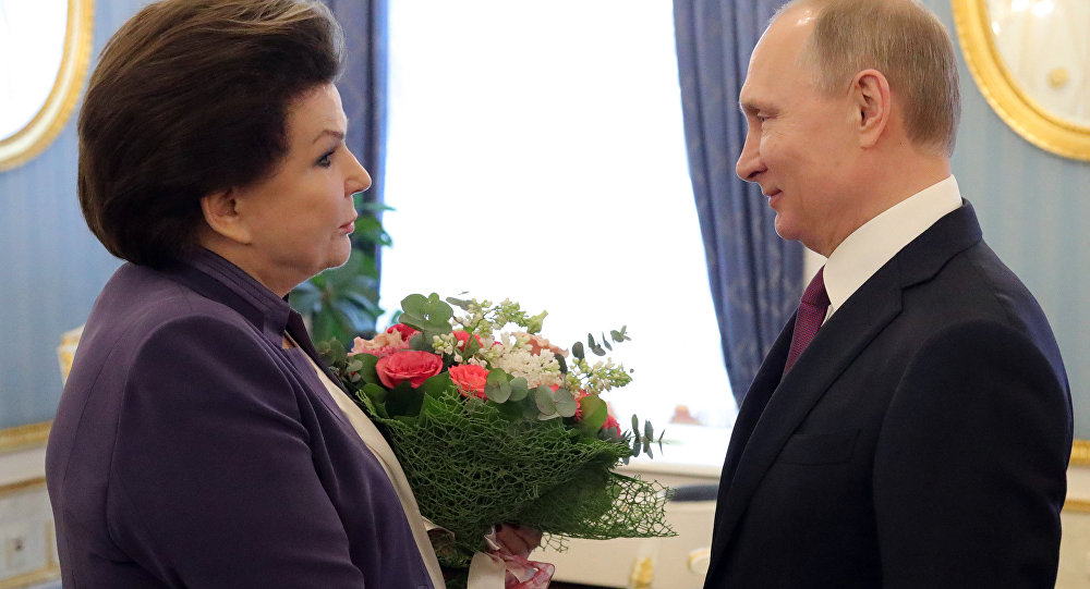 March 6, 2017. Russian President Vladimir Putin and Valentina Tereshkova, cosmonaut, the first woman in space, Hero of the Soviet Union and deputy of the Russian State Duma, during a meeting.
