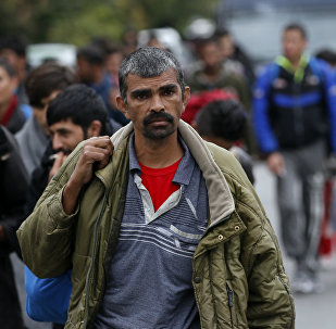 Migrants and refugees walk toward the Serbian border with Hungary in the village of Nova Pazova, some 30 kilometers (20 miles) west of Belgrade, Serbia, Tuesday, Oct. 4, 2016.
